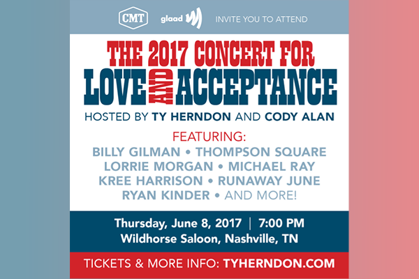 Ty Herndon's Concert for Love and Acceptance Reveals First Round Talent Lineup