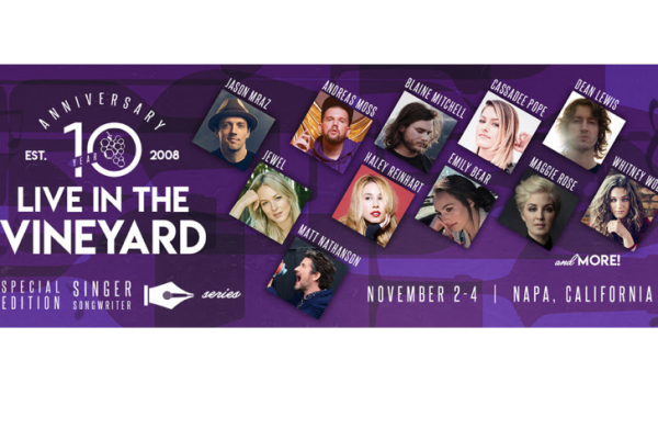 Live In The Vineyard Adds to the Tenth Anniversary Lineup Nov. 1-4 with Performances by Rita Wilson, Cassadee Pope, Maggie Rose, Blaine Mitchell, Haley Reinhart, Patrick Droney, Seth Ennis and More